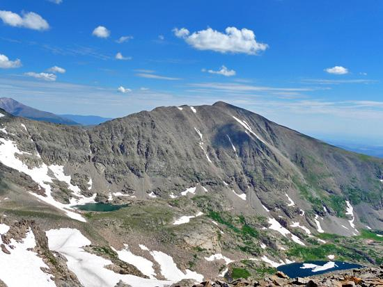 Mt Audubon (13,223') with Little Blue Lake (left) and Blue Lake (right) at its base