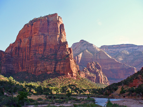 Angels Landing (5,808') rises 1500' above the Virgin River, which wraps around its base